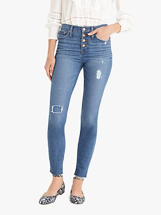 "J.Crew 9"" Higher-Rise Toothpick Exposed Jeans, Medium Repaired"