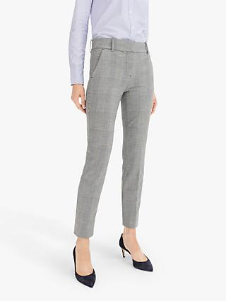 J.Crew Cameron Four Season Stretch Check Trousers, Black/Ivory