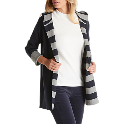 Betty Barclay Double Knit Hooded Striped Cardigan, Navy
