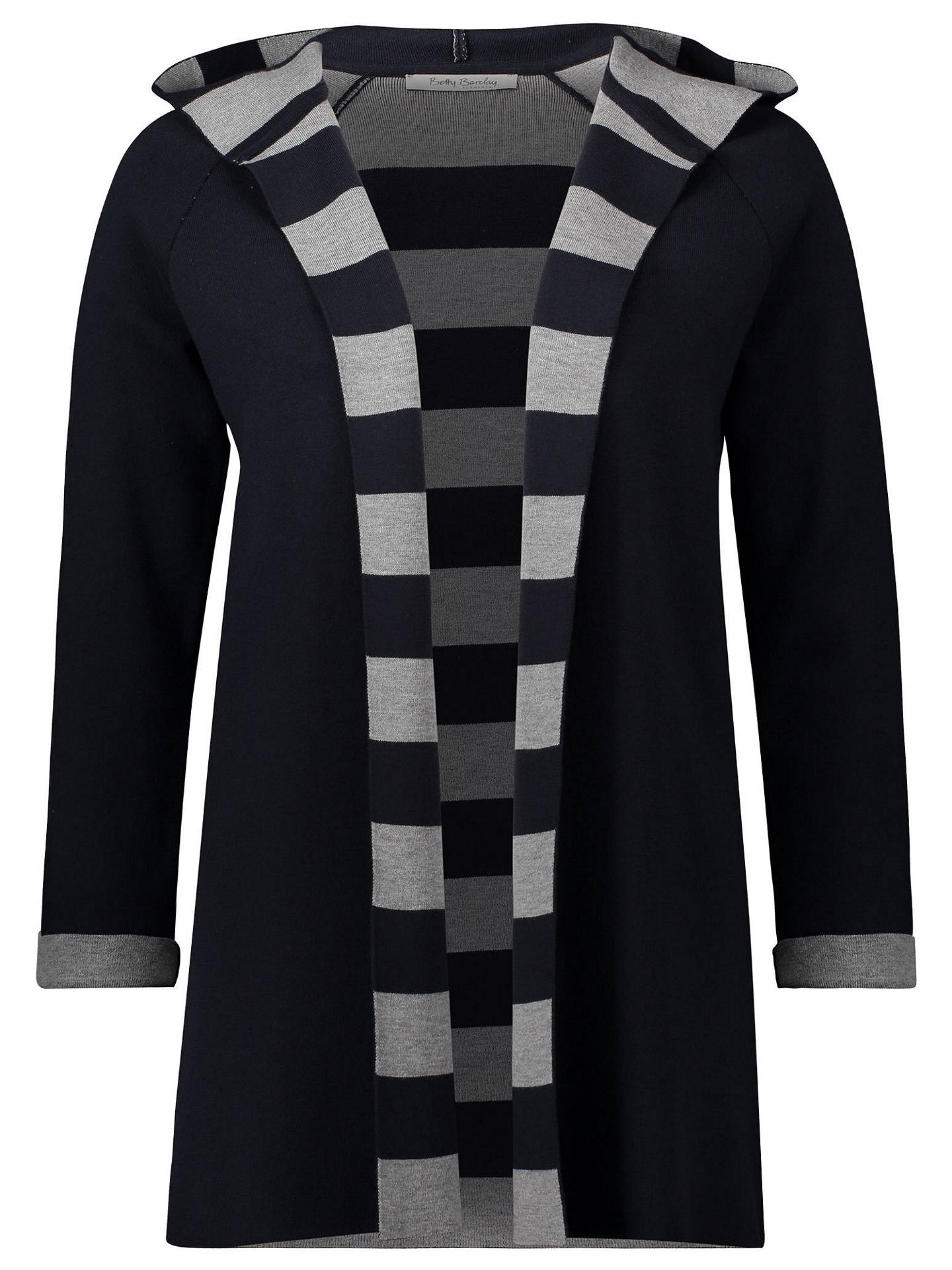 BuyBetty Barclay Double Knit Hooded Striped Cardigan, Navy, 10 Online at johnlewis.com