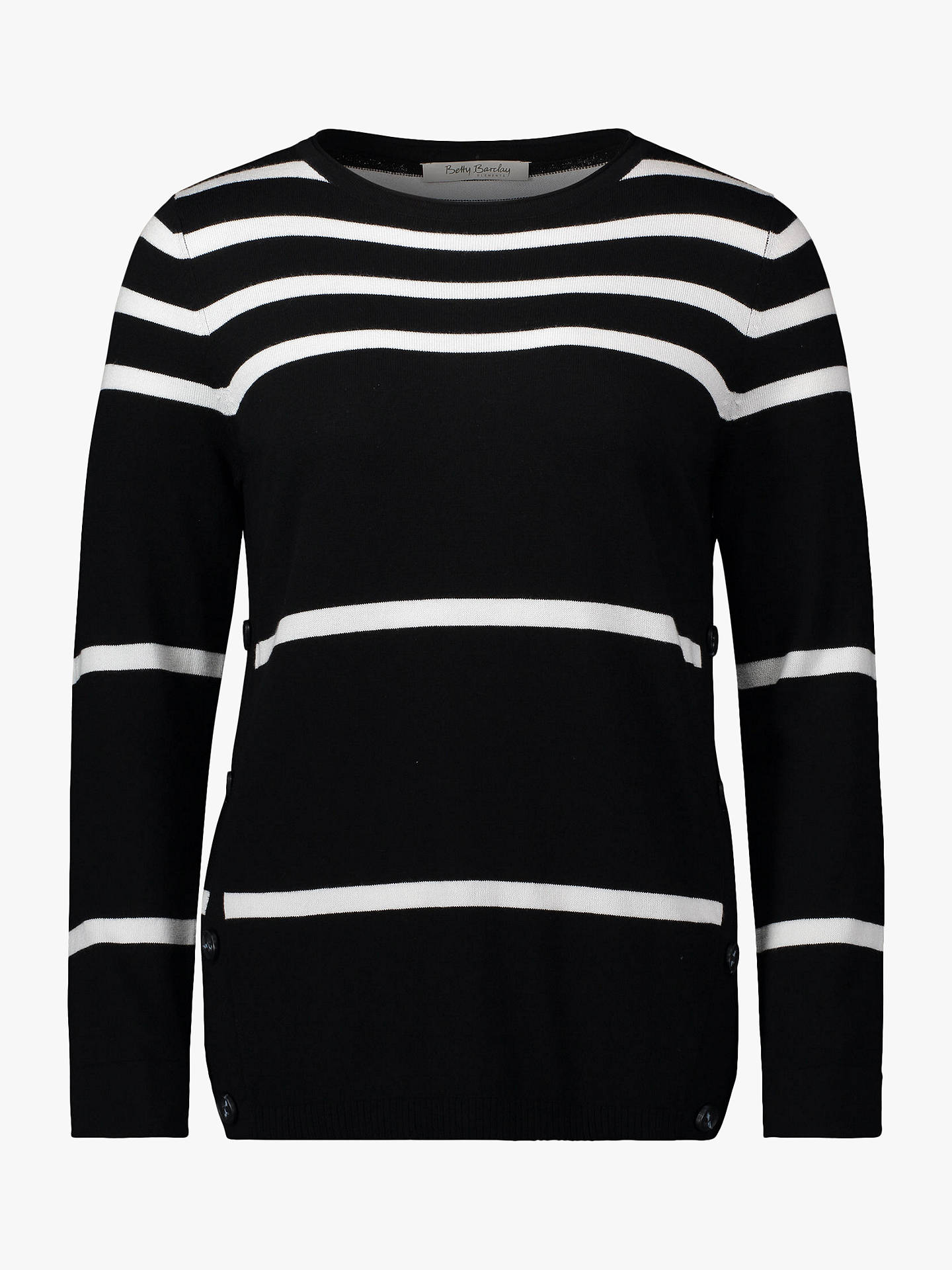 BuyBetty Barclay Striped Button Jumper, Black/Cream, 14 Online at johnlewis.com