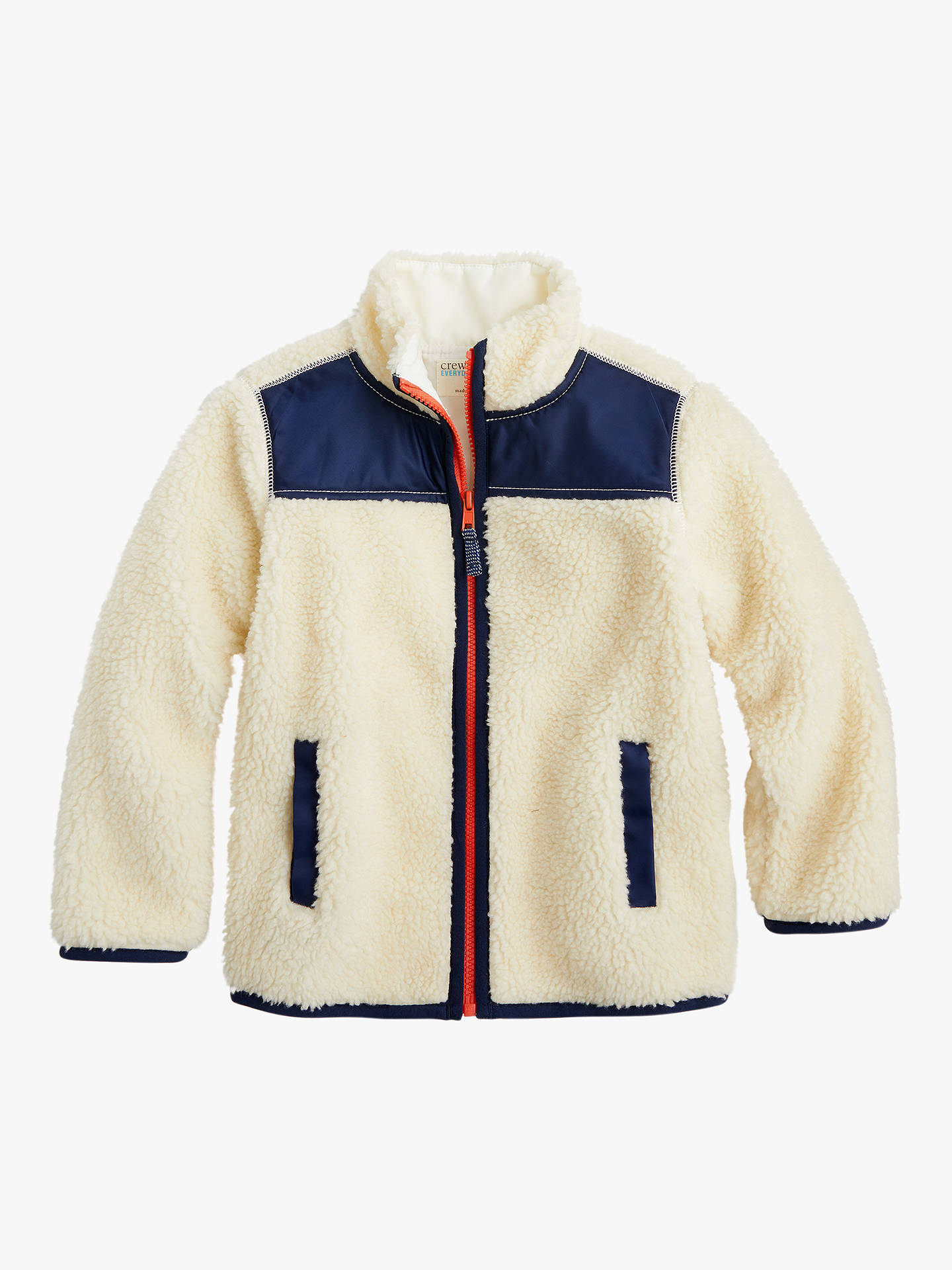 19258816a Buy crewcuts by J.Crew Boy's Colour Block Sherpa Jacket, White, 10 years