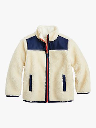 crewcuts by J.Crew Boy's Colour Block Sherpa Jacket, White