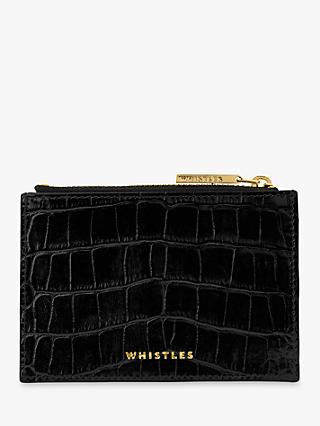 Whistles Croc Coin Purse, Black