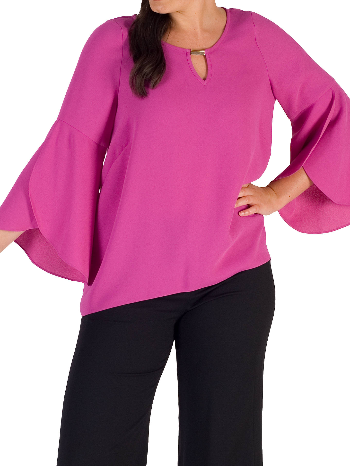 Buy Chesca Cuff Detail Crepe Top, Pink Magenta, 12 Online at johnlewis.com