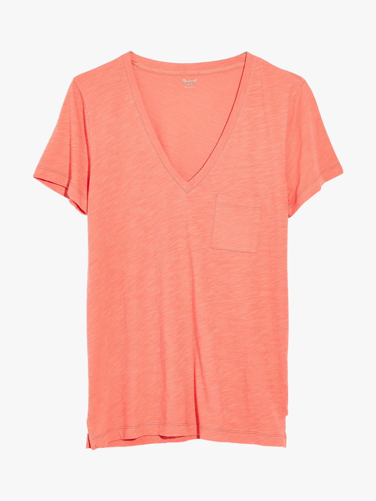 83e9d798 Madewell Whisper Cotton V-Neck Pocket T-Shirt, Dried Coral at John ...