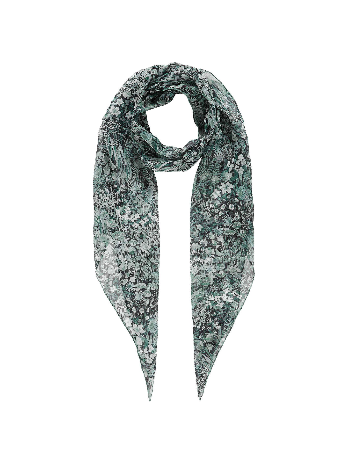 Buy Brora Floral Liberty Print Scarf, Verdigris, Multi Online at johnlewis.com