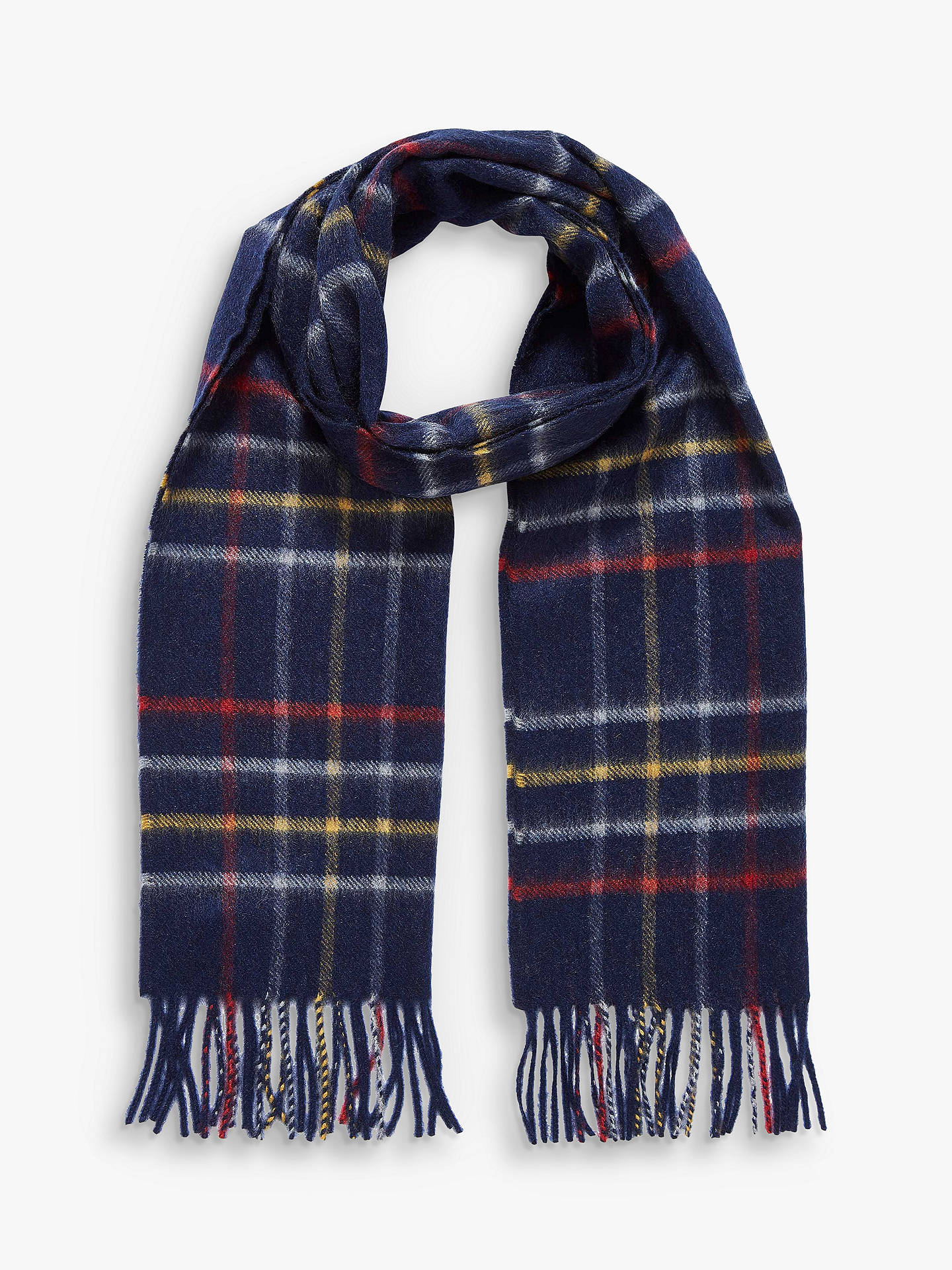 Buy Brora Cashmere Plaid Scarf, French Navy Online at johnlewis.com