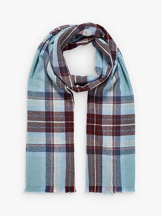Buy Brora Cashmere Plaid Stole Scarf, Duck Egg & Ink Online at johnlewis.com