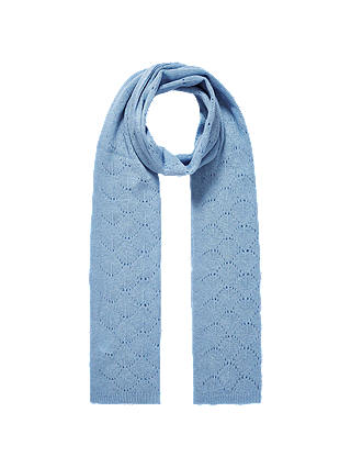 Buy Brora Pointelle Cashmere Scarf, Iris, Blue Online at johnlewis.com