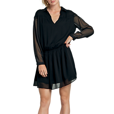 hush Cressida Shirred Dress, Black