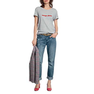 hush Carpe Diem Slogan T-Shirt, Grey