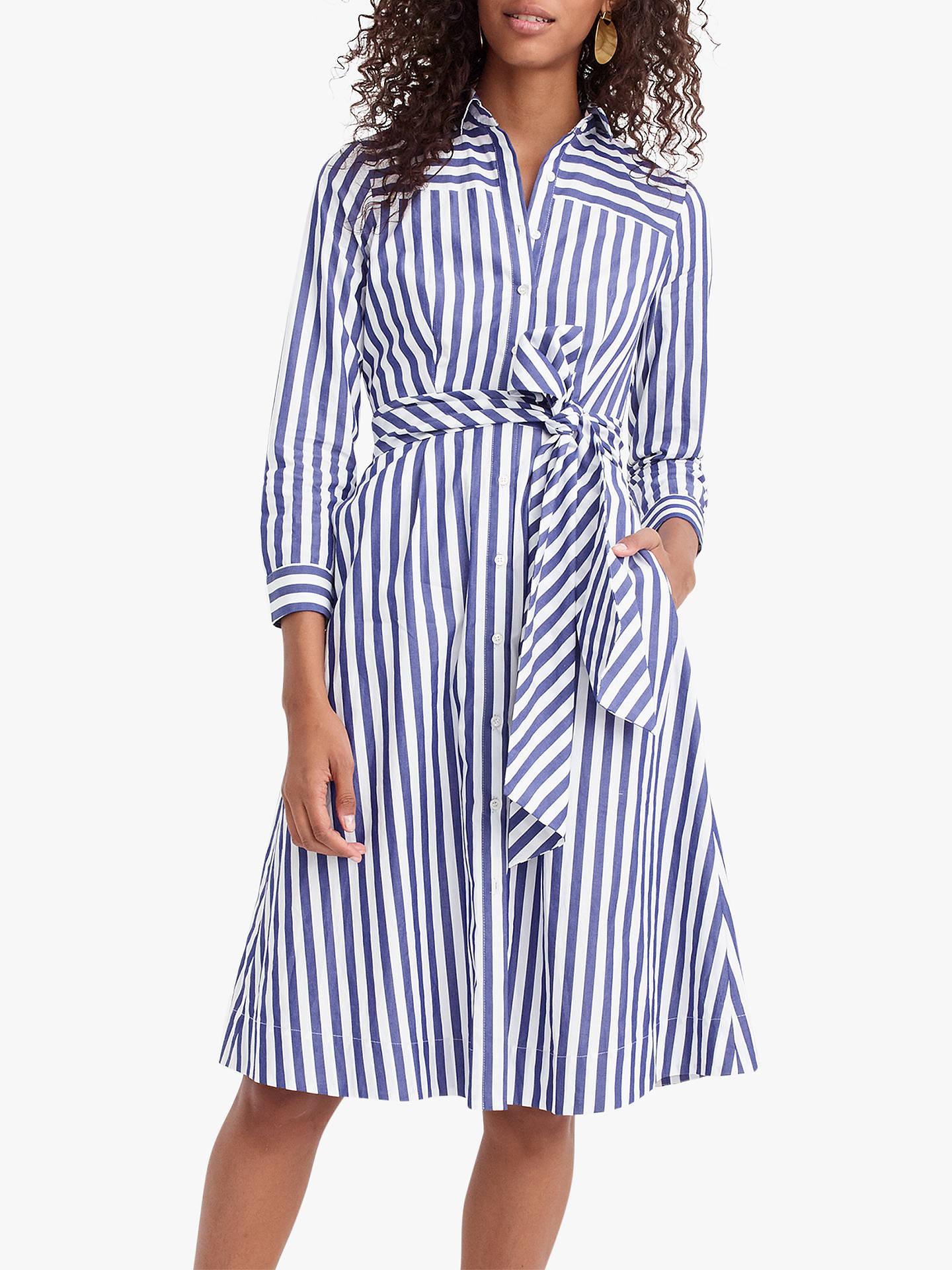 1ddca9cd7 Buy J.Crew Sybil Tie Waist Shirt Dress, Tushar Stripe Lighthouse, 2 Online  ...