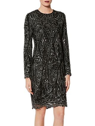 Gina Bacconi Marzena Swirl Embroidered Dress, Black