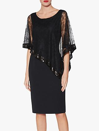 Gina Bacconi Kamila Lace Cape Overlay Dress