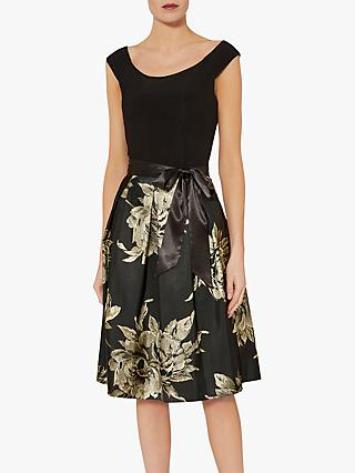 Gina Bacconi Elza Jersey Dress, Black/Gold