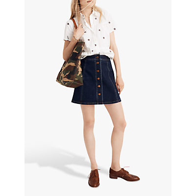Madewell Exposed Button Metropolis Skirt, Eldridge Wash