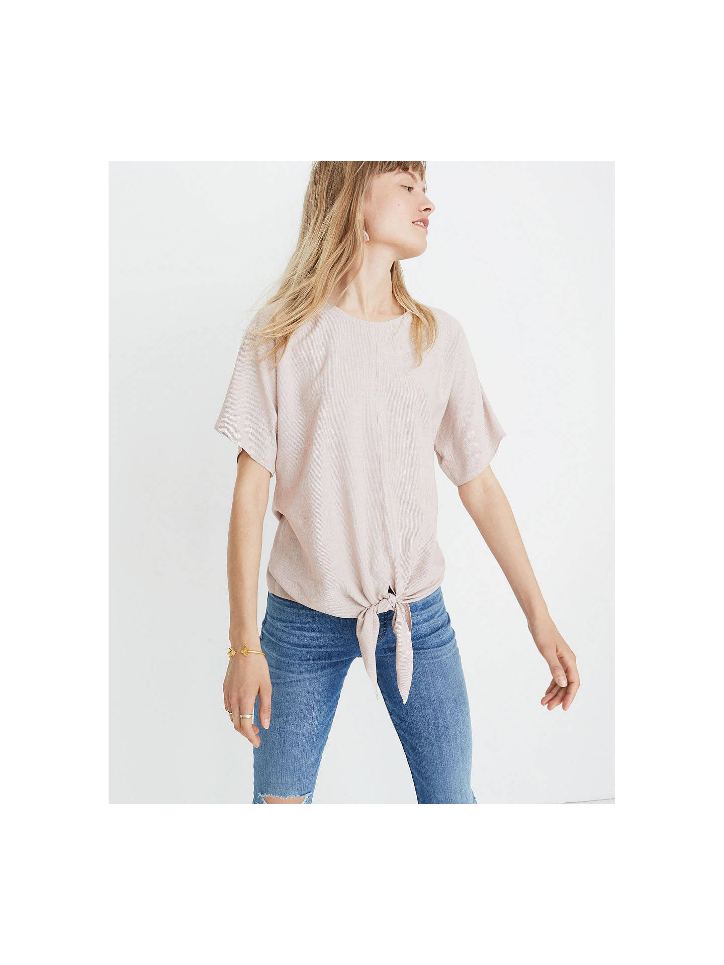 7bc735bfad Buy Madewell Button Back Tie Stripe T-Shirt, Warm Nutmeg, XXS Online at ...