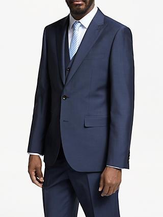 John Lewis & Partners Italian Wool Mohair Tailored Fit Suit Jacket, Blue