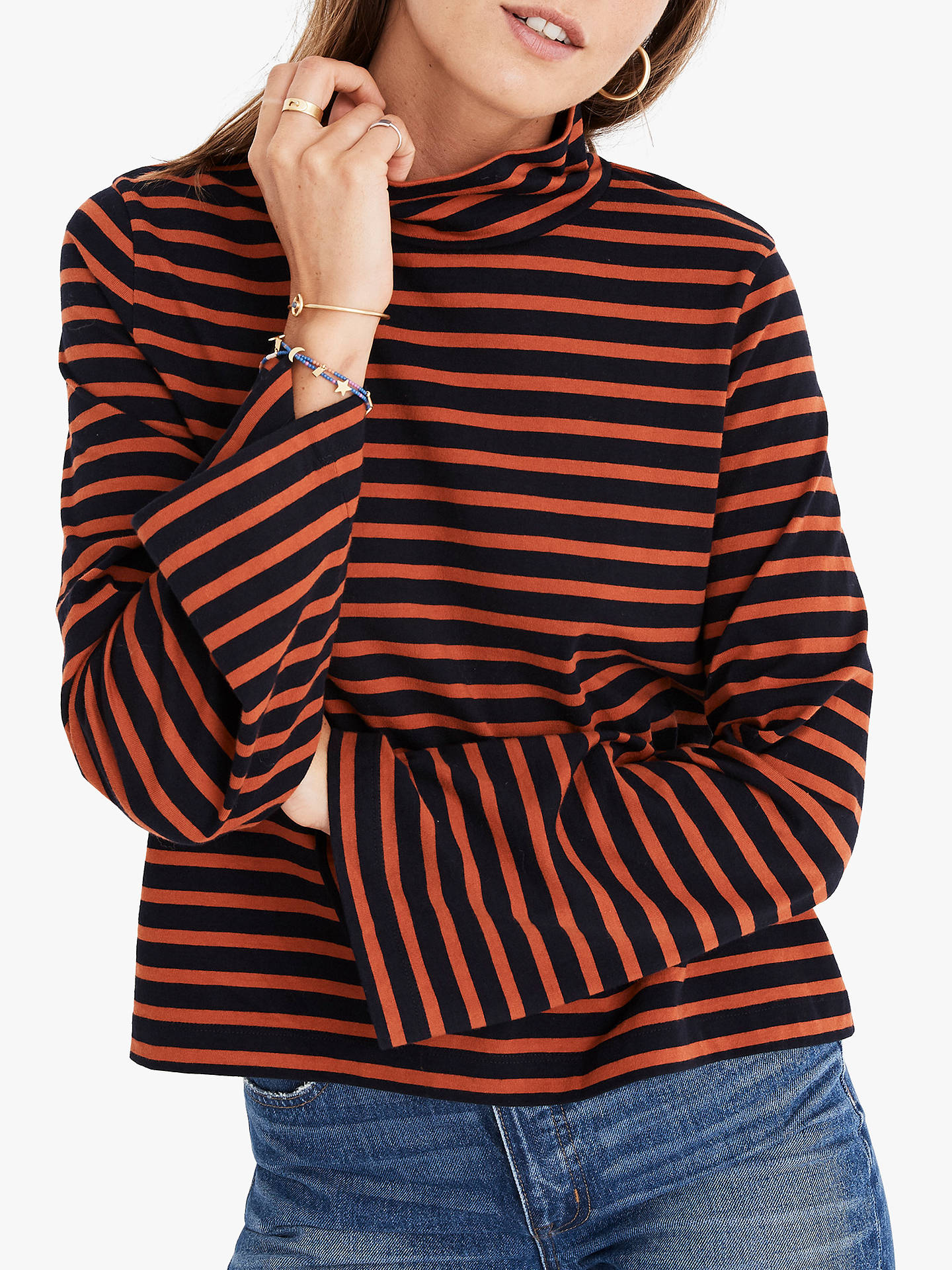 a51e463411fa1 Buy Madewell Oliver Striped Turtleneck Top, Night Vision, XXS Online at  johnlewis.com ...