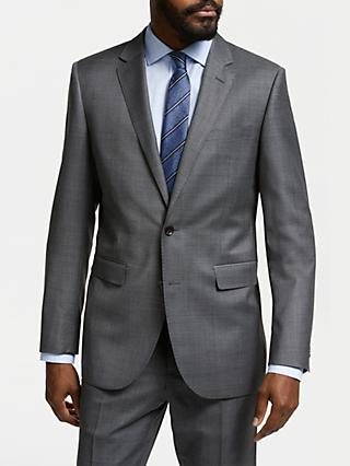 John Lewis & Partners Zegna Wool Tailored Fit Check Suit Jacket, Grey