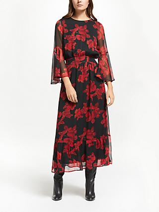 Y.A.S Cymbala Floral Maxi Dress, Black/Red