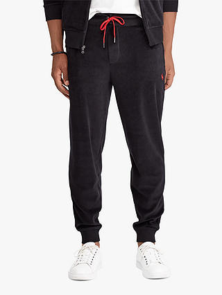 Buy Polo Ralph Lauren Velour Jogging Bottoms, Polo Black, XL Online at johnlewis.com