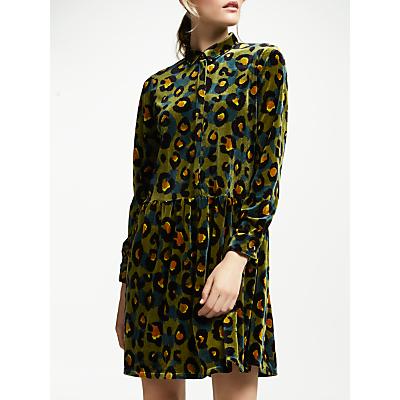 Numph Ederne Leopard Print Shirt Dress, Ivy Green