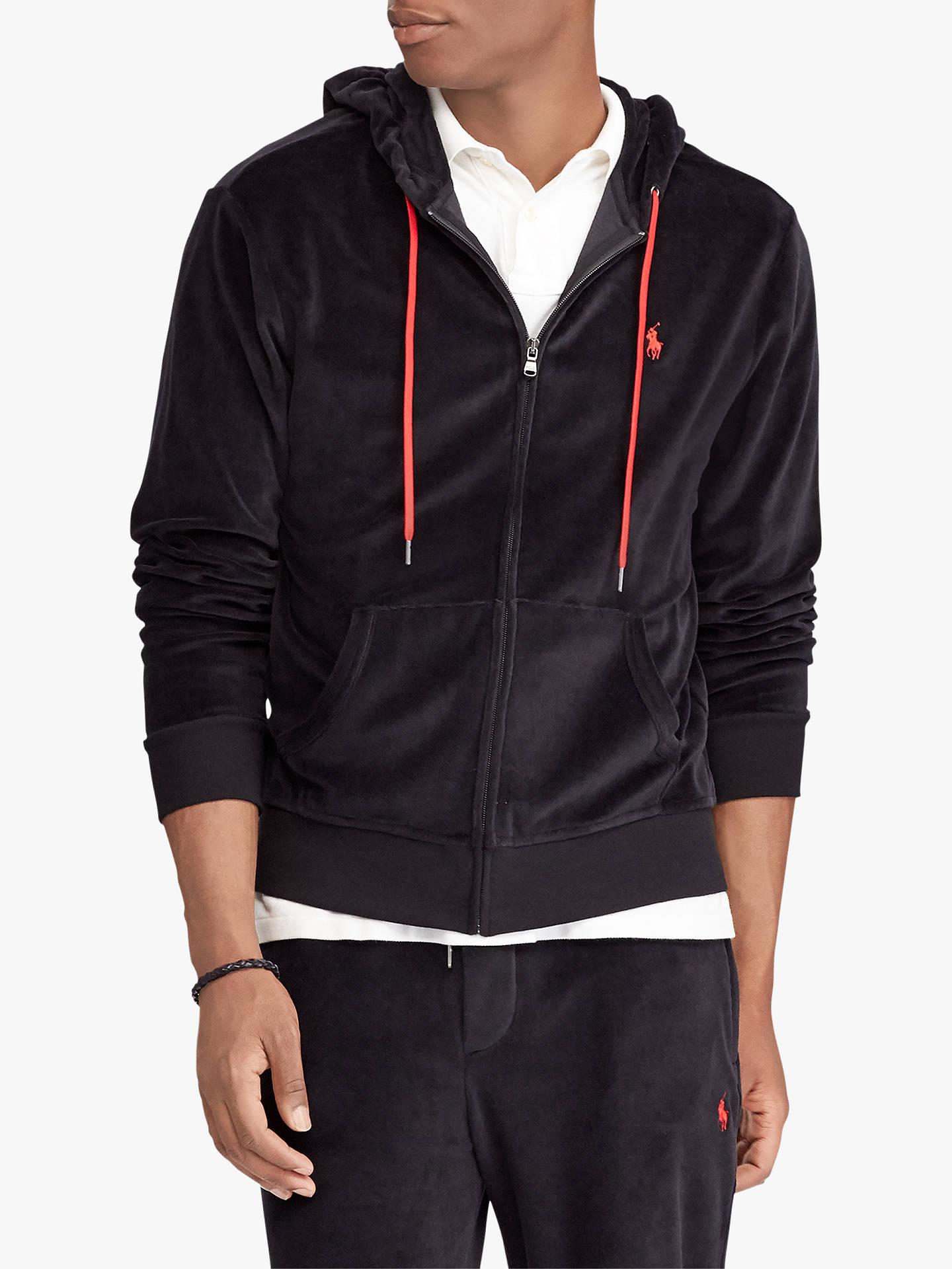d62c51f2ba86 ... sweden buypolo ralph lauren velour hoodie polo black m online at  johnlewis bc613 a25dd