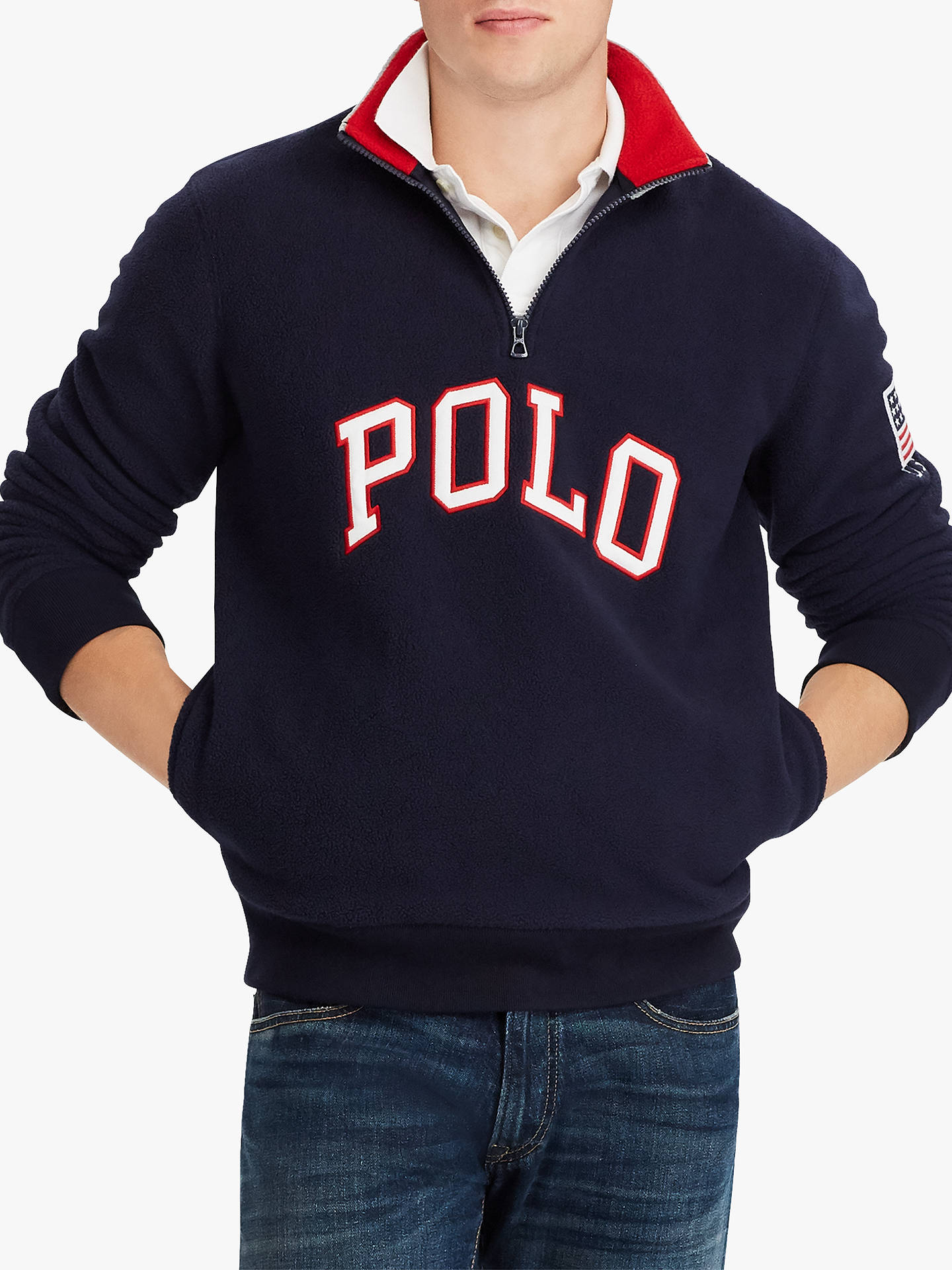 BuyPolo Ralph Lauren Half Zip Fleece Logo Sweatshirt, Aviator Navy, M Online at johnlewis.com