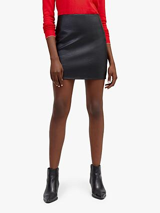 Warehouse Faux Leather Mini Skirt, Black