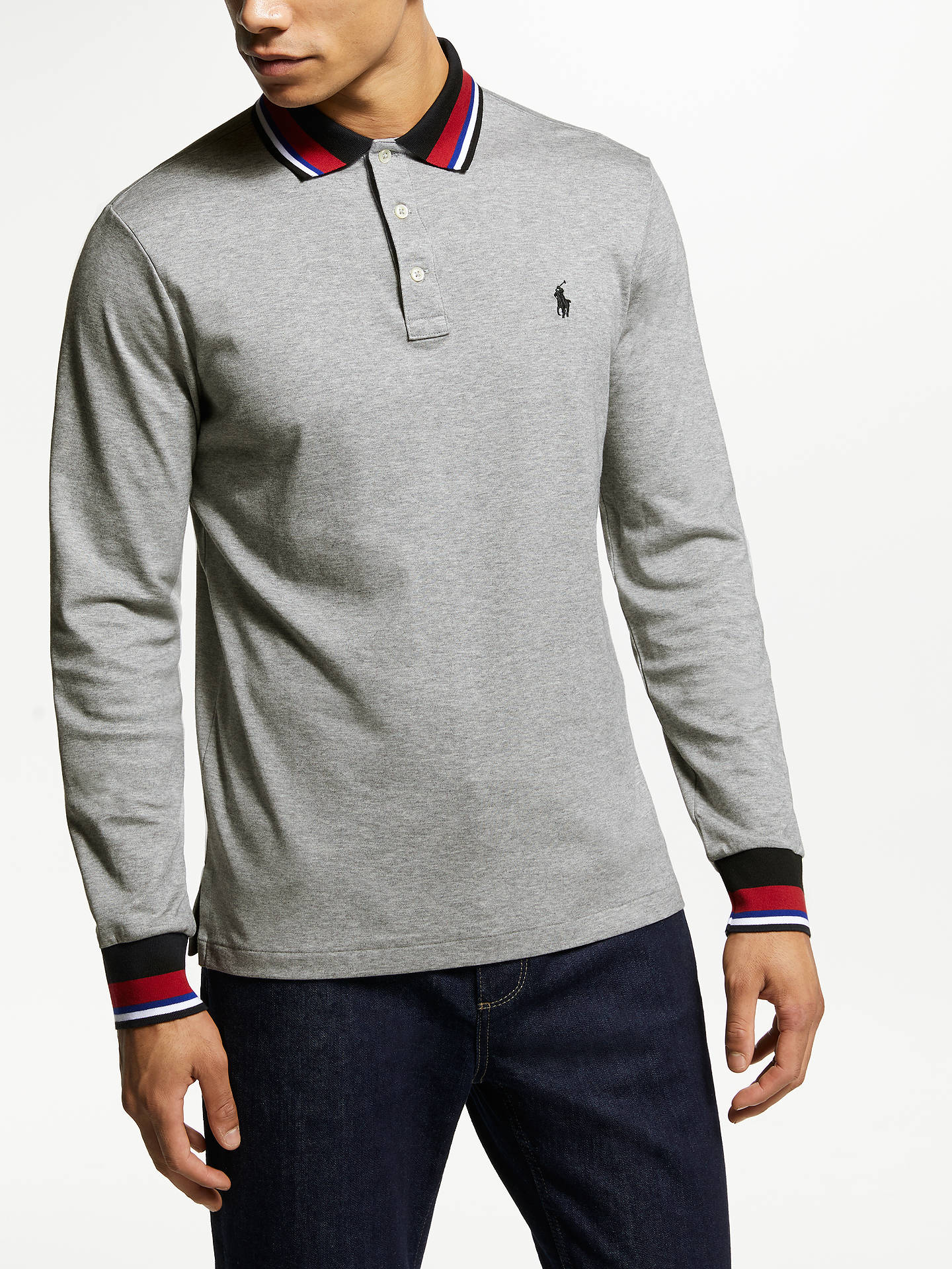 BuyPolo Ralph Lauren Sports Trim Pima Cotton Polo Shirt, Andover Heather, S Online at johnlewis.com