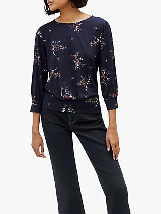 Warehouse Floral Balloon Top, Navy