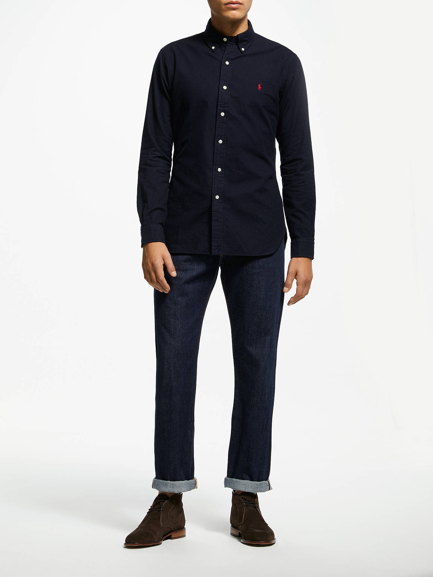 Buy Polo Ralph Lauren Brushed Cotton Shirt, Navy, S Online at johnlewis.com