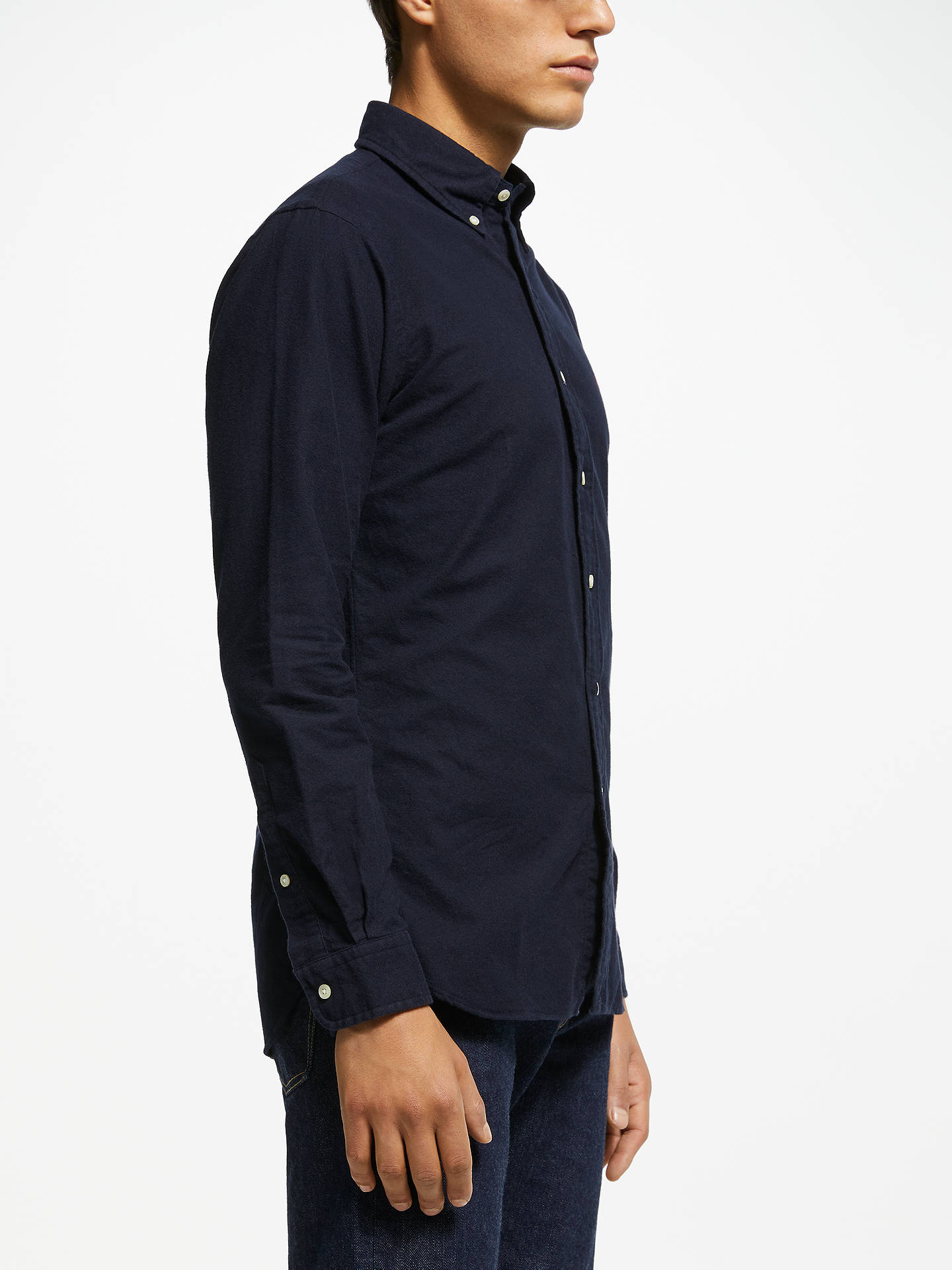 Buy Polo Ralph Lauren Brushed Cotton Shirt, Navy, M Online at johnlewis.com
