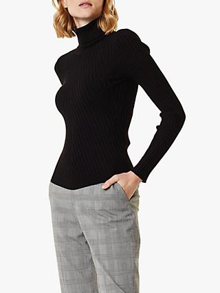 Karen Millen Ribbed Roll Neck Jumper, Black