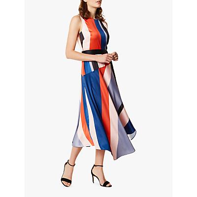 Karen Millen Asymmetric Stripe Flared Maxi Dress, Multi