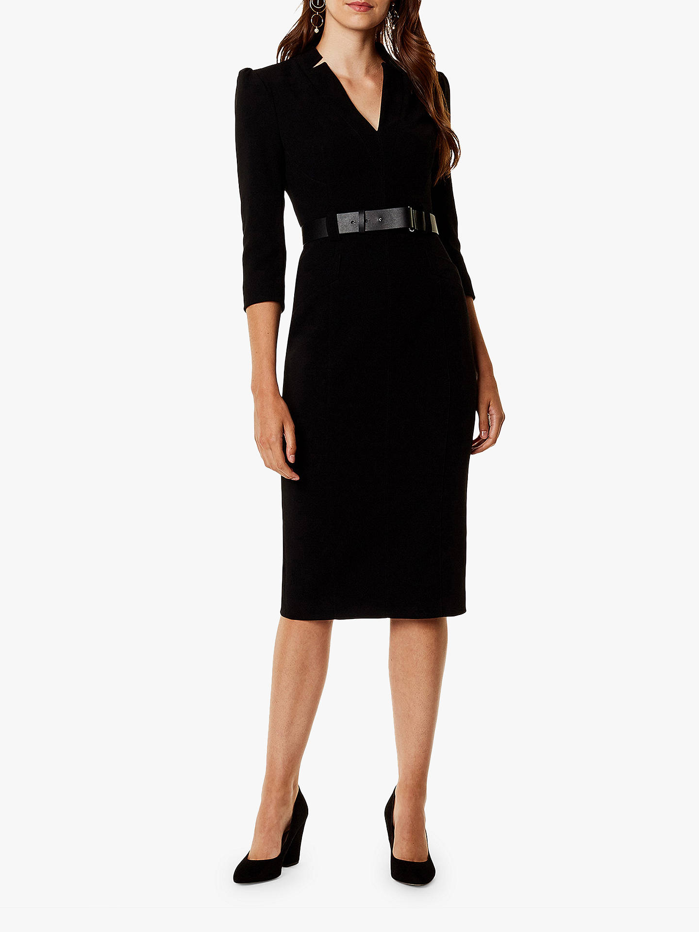 693ece76ae Buy Karen Millen Statement Shoulder Belted Midi Dress, Black, 6 Online at  johnlewis.