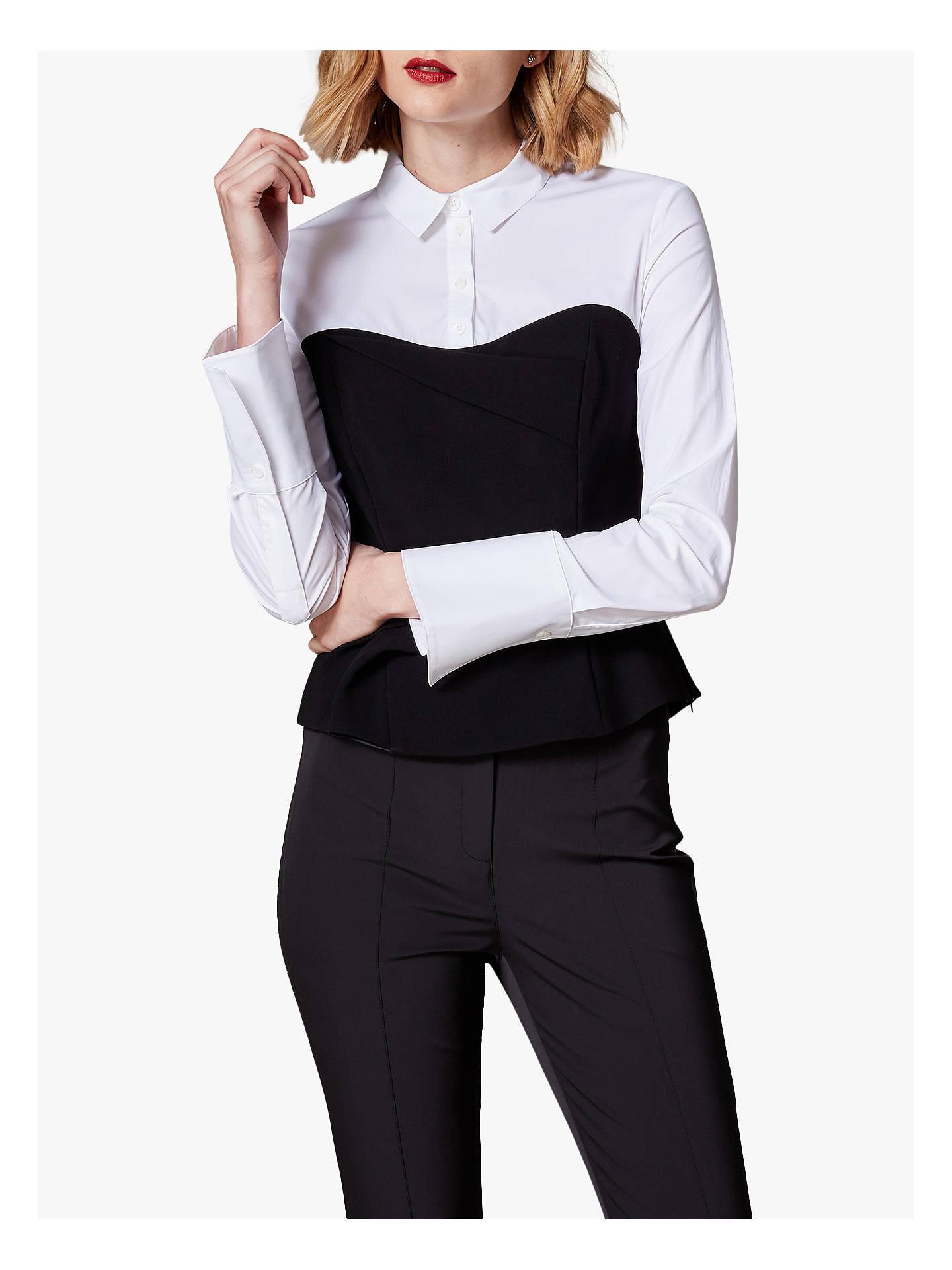 6dae2fd1a059 Buy Karen Millen Corset Shirt, Black/White, 10 Online at johnlewis.com ...