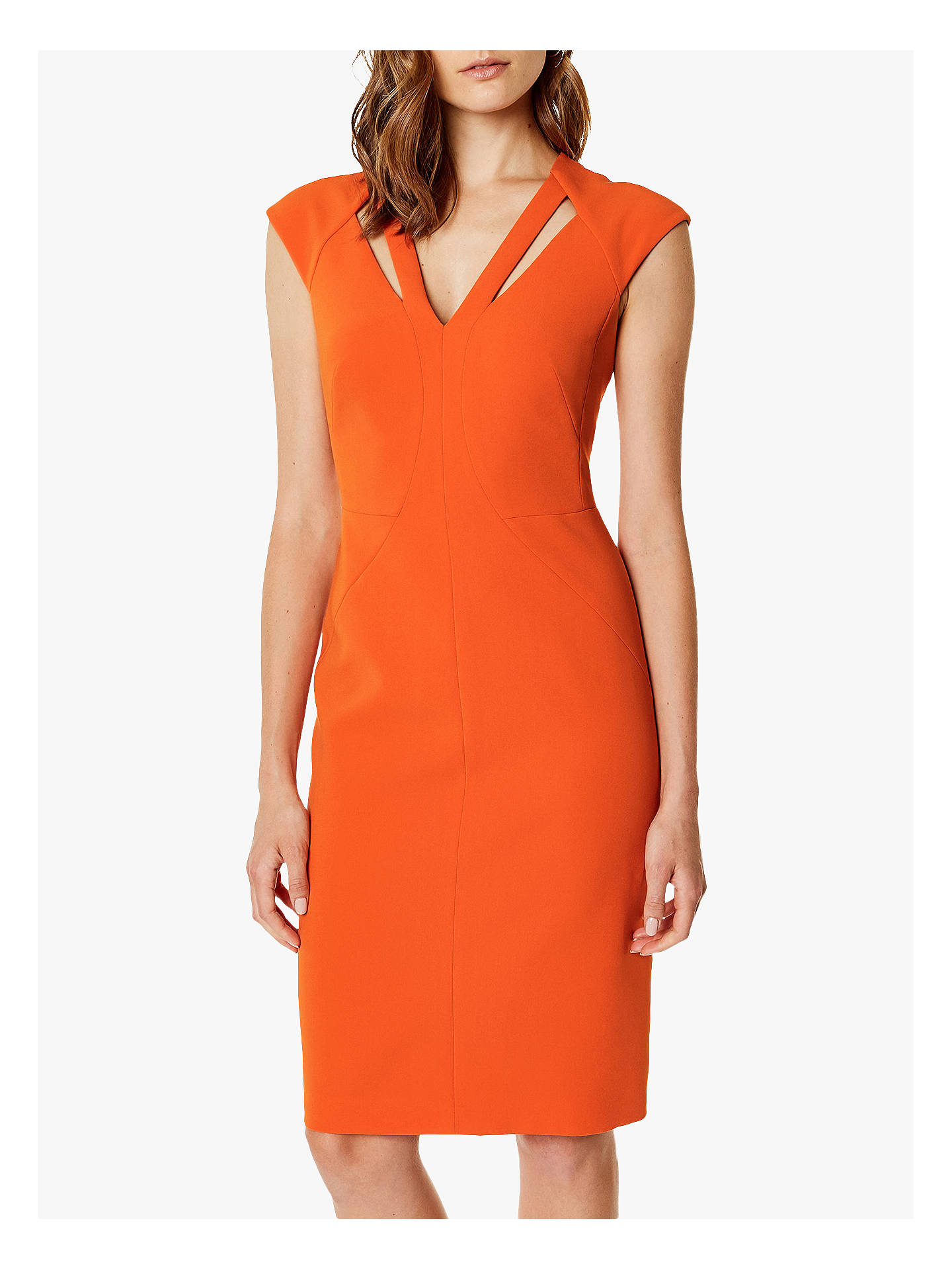 4e10df1291 Buy Karen Millen Mock Cut Out Pencil Dress, Orange, 8 Online at johnlewis.
