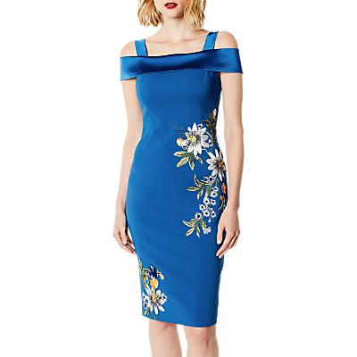 Karen Millen Bardot Embroidered Pencil Dress, Blue