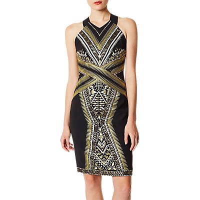 Karen Millen Embroidered Midi Dress, Black/Gold