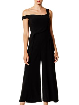 Karen Millen Asymmetric Wide Leg Jumpsuit, Black