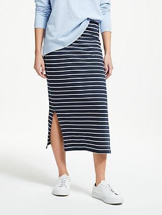 9bc97f46a4 Collection WEEKEND by John Lewis Jersey Stripe Column Skirt, Navy/White
