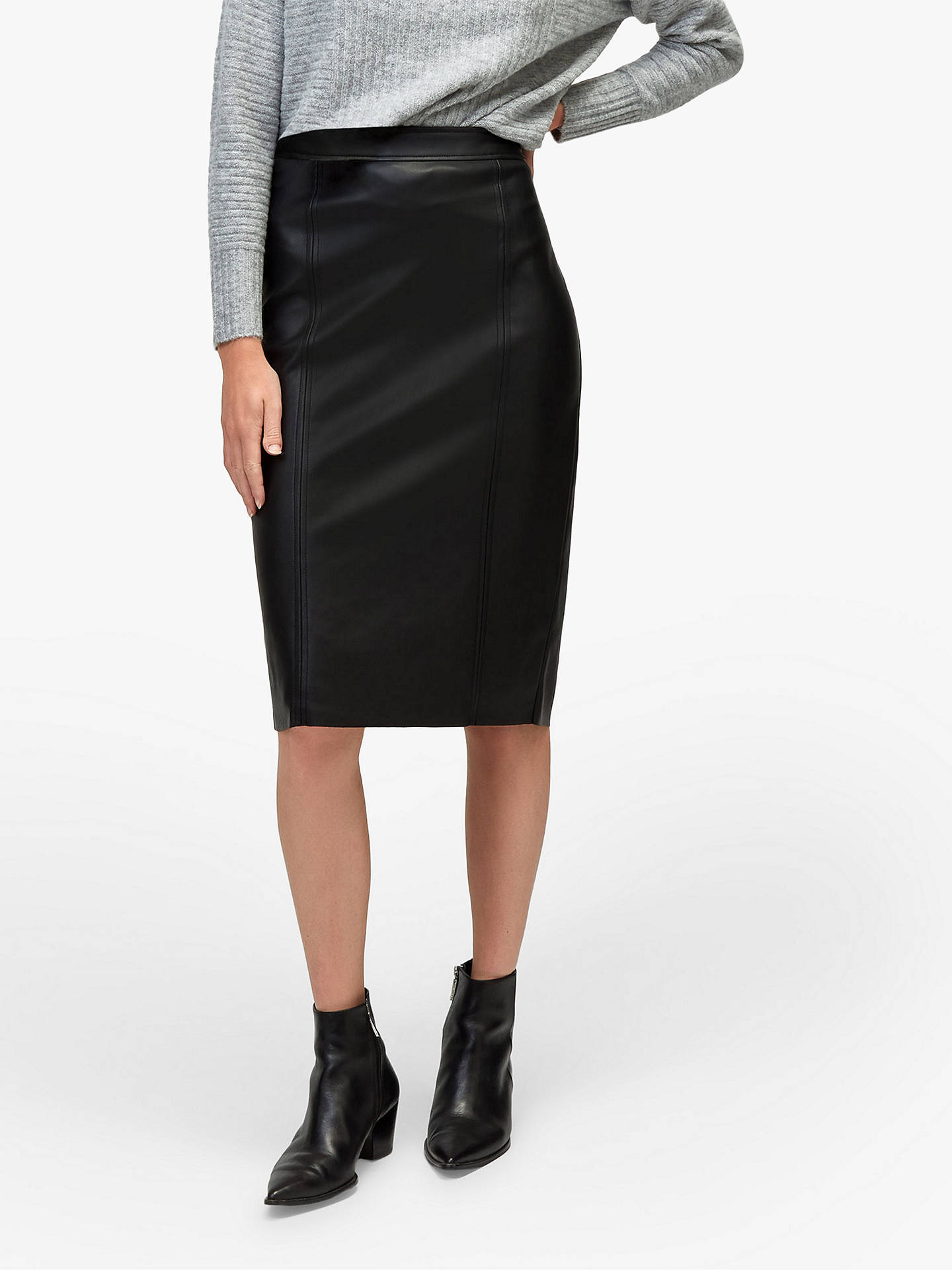 hot-selling fashion new york super popular Warehouse Faux Leather Pencil Skirt, Black at John Lewis ...