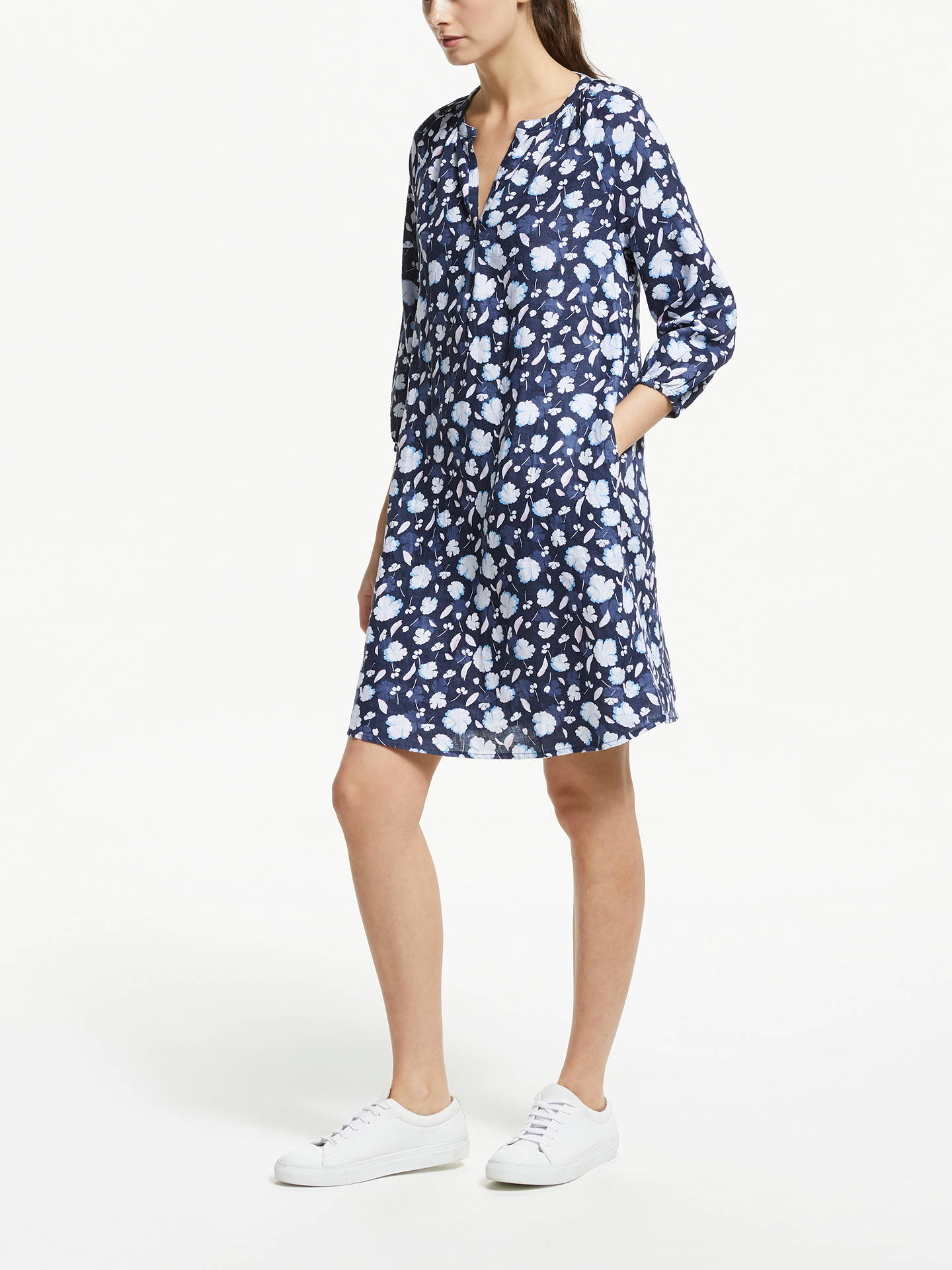 BuyCollection WEEKEND by John Lewis Lavinia Linen Smock Dress, Navy, 12 Online at johnlewis.com