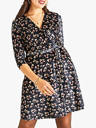 Yumi Velvet Wrap Floral Print Dress, Black