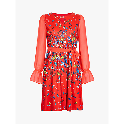 Yumi Bird and Butterfly Print Dress, Red/Multi