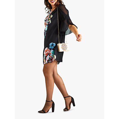 Yumi Curves Floral Sheer Sleeve Dress, Black