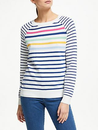 Collection WEEKEND by John Lewis Stripe Raglan Sleeve Jumper, Ivory/Multi